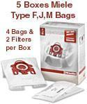 China 5 Boxes of Genuine Miele AirClean Bags Type F, J, M on sale