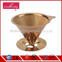 China Coffee Filter 4 Cups Cone Stainless Steel Drip Coffee Filter Reusable Pour Over Filter Cone wholesale