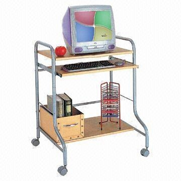 Quality Computer Desk, Made of Medium Fiber Board and Steel Frame, with Powder Coating for sale